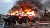 SPBU di Dusun Pokai, Desa Muara Sikabaluan, Kecamatan Siberut Utara, Kabupaten Kepulauan Mentawai, Sumatera Barat terbakar | Net/Halonusa