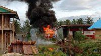 SPBU di Dusun Pokai, Desa Muara Sikabaluan, Kecamatan Siberut Utara, Kabupaten Kepulauan Mentawai, Sumatera Barat terbakar
