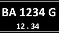 Plat Nomor BA Seri Belakang G