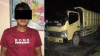 Sopir dan truk dalam kasus wanita tewas mengenaskan di Padang Pariaman, Senin (15/3/2021) lalu.