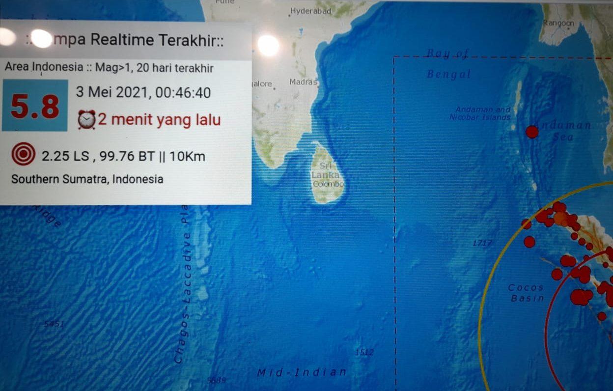 Pusat gempa berada di laut 35 km Tenggara Tuapejat - Halonusa