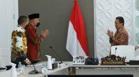 Audiensi Gubernur Sumatera Barat Mahyeldi, Wakil Gubernur Sumatra Barat Audy Joinaldy dan jajarannya di Ruang Rapat, Gd. Mina Bahari IV, Kantor KKP, Rabu (19/5/2021).