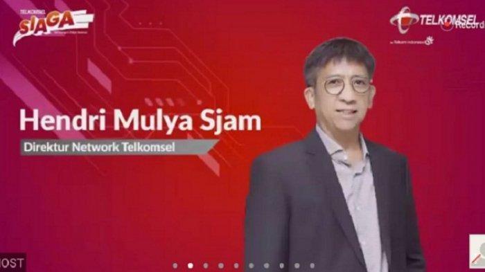 Tangkapan layar - Direktur Network Telkomsel Hendri Mulya Syam memberikan keterangan pers terkait optimalisasi jaringan yang dilakukan Telkomsel jelang perayaan Natal 2020 dan Tahun Baru 2021, saat konferensi pers virtual optimalisasi jaringan Telkomsel jelang NATARU, Senin (14/12/2020).