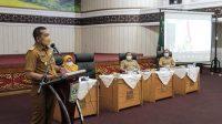 Wakil Gubernur Sumatera Barat, Audy Joinaldy saat ekspos rencana pengelolaan ekosistem karst Sumbar di Aula Kantor Gubernur, Senin (5/7/2021).| Halonusa