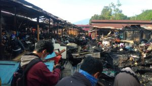 Sejumlah petak kios yang terbakar di Pasar Bawah Bukittinggi. (Foto: Dok. Polres Bukittinggi)