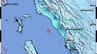 Pusat gempa bumi di Sumbar pada Minggu (12/9/2021). (Foto: Dok. BMKG)