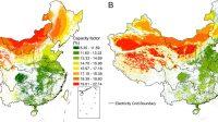 Distribusi potensi teknis PV surya skala utilitas Cina pada tahun 2020. (A) Distribusi faktor kapasitas berdasarkan sel jaringan. (B) Distribusi kapasitas potensial yang dinyatakan dalam megawatt per kilometer persegi.