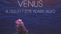 Pandangan tentang permukaan dan atmosfer awal Venus, lebih dari 4 miliar tahun yang lalu. Berlatar seorang penjelajah misterius yang terkejut melihat lautan benar-benar menguap di langit. | Credit: © Manchu/Konten Asli/Halonusa