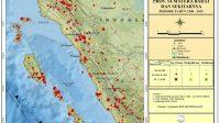 Peta Seismisitas darat Sumatera Barat dan sekitarnya | Sumber: Data seismisitas periode 1900 - Juni 2015, BMKG; Peta tektonik, P3G, Bandung dan Basemap ESRI online | Proyeksi: Geographic WGS 1984 UTM Zone 47S - Halonusa