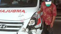 Kondisi ambulans RSUD Kota Solok yang kecelakaan di Talang. (Foto: Dok. Istimewa)
